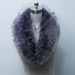 Faux Fur Collar Scarf - PURPLISH BLUE