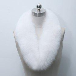 Faux Fur Collar Scarf - WHITE
