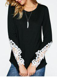 Lace Insert Long Sleeve T-Shirt - BLACK XL