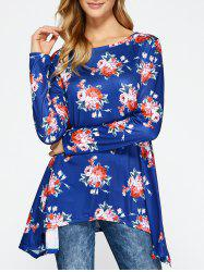 Floral Long Sleeve Asymmetrical Tee