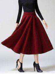 Woolen A-Line Midi Skirt - WINE RED