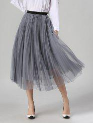 Tulle Pleated Midi A-Line Skirt - GRAY