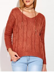 Cross Back V Neck Drop Shoulder Sweater -