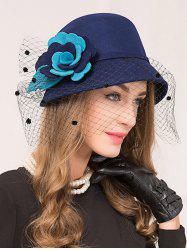 Floral Gauze Wool Dome 1920s Fedora Hat
