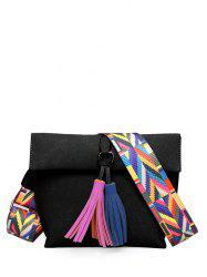 Colour Block Tassels Magnetic Closure Crossbody Bag