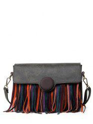 Textured Leather Fringe Covered Closure Crossbody Bag
