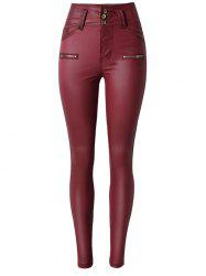Faux Leather Rise Waist Skinny Pants -