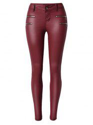 Zippers Faux Leather Low  Rise Pants - WINE RED M