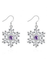 Artificial Amethyst Snowflake Christmas Earrings