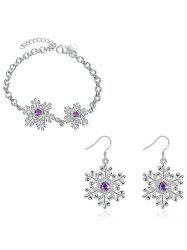 Artificial Amethyst Snowflake Christmas Bracelet and Earrings -