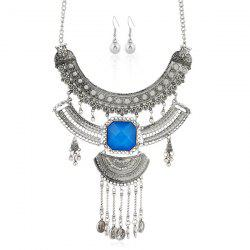 Vintage Rhinestone Coins Necklace and Earrings - SILVER AND BLUE