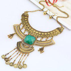 Vintage Rhinestone Coins Necklace and Earrings