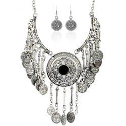 Vintage Coins Pendant Necklace and Earrings - SILVER AND BLACK