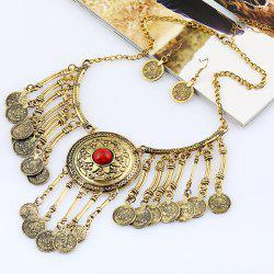 Vintage Coins Pendant Necklace and Earrings -