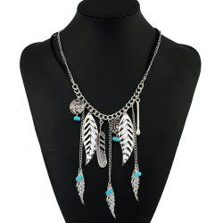 Bohemian Faux Turquoise Beads Feather Necklace -