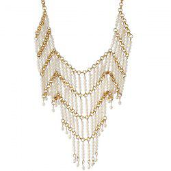 Artificial Pearl Beads Geometric Necklace - WHITE