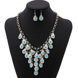 Bohemian Beads Necklace and Earrings - SILVER AND BLUE