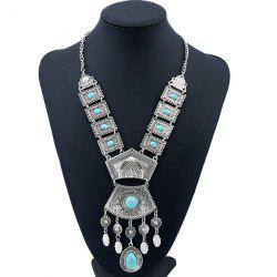 Bohemian Rhinestone Geometric Water Drop Necklace - SILVER AND BLUE