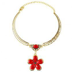Vintage Artificial Gem Flower Necklace