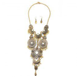 Faux Gem Flower Necklace and Earrings - GOLD AND WHITE