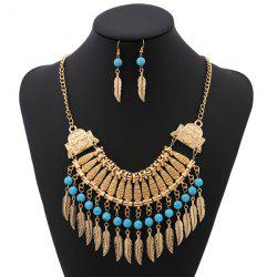 Bohemian Leaf Necklace and Earrings