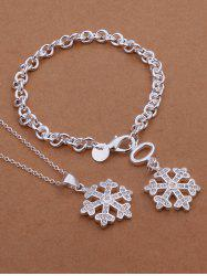 Christmas Snowflake Necklace and Bracelet - SILVER