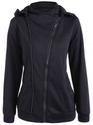 Hooded Inclined Zip Jacket - BLACK