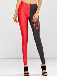 Geometric Print Stretchy Contrast Leggings - RED ONE SIZE