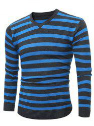 V Neck Striped Knitting Sweater -