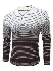 V Neck Ombre Striped Knitting Sweater - WHITE XL