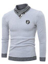 Shawl Collar Button Embellished Badge Sweater -