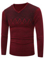 V Neck Argyle Graphic Spliced Knitting Sweater - WINE RED 2XL