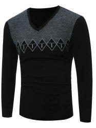 V Neck Argyle Graphic Spliced Knitting Sweater