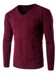 V Neck Checked Graphic Knitting Sweater