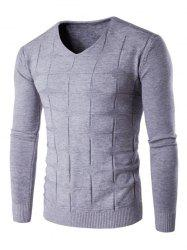 V Neck Checked Graphic Knitting Sweater -