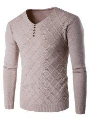V Neck Buttons Argyle Kink Design Knitting Sweater