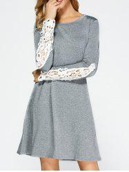 Lace Paneled Long Sleeve Dress