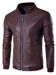 PU Leather Stand Collar Zip Up Jacket - WINE RED