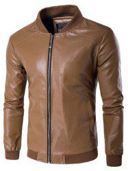 PU Leather Stand Collar Zip Up Jacket - DUN