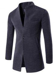 One Button Design Longline Woolen Coat