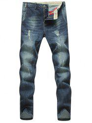 Plus Size Splatter Paint Holes Straight Leg Jeans - DEEP BLUE