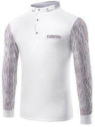 Striped Splicing Polo Collar T-Shirt