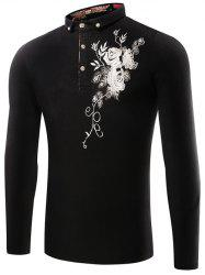 Florals Embroidered Polo Collar T-Shirt -
