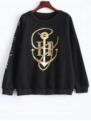 Plus Size Raglan Sleeve Printed Sweatshirt