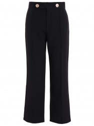 Plus Size High Waist Wide Leg Pants - BLACK