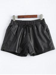 Plus Size Pocket Design Faux Leather Shorts