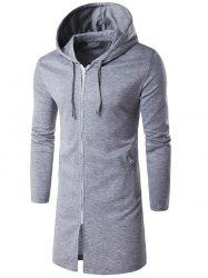 Hooded Longline Zip Up Hoodie - LIGHT GRAY