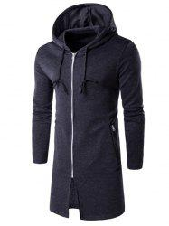 Hooded Longline Zip Up Hoodie - DEEP GRAY
