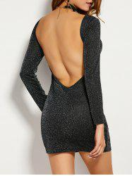 Long Sleeve Low Back Mini Club Dress - BLACK