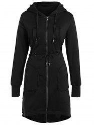 Hooded Drawstring Asymmetrical Coat - BLACK